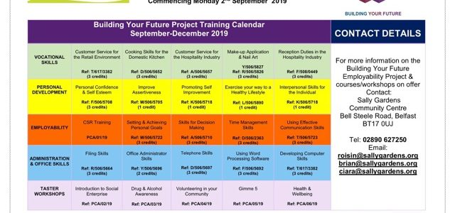 Training Calendar Sep to Dec 2019