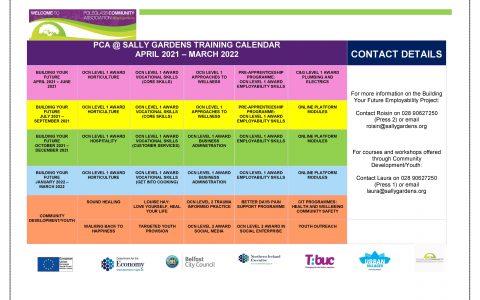 Training Calendar April 2021- March 2022
